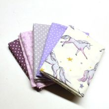 Pack of 5 100% Cotton Unicorn Print with 4 Fat Quarters